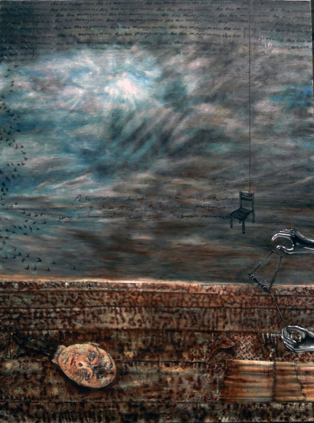 Galeri ISI Surakarta.Peinture.Blessure la terre appartient a tout le monde. Hendra Purnama.Automne 2085
